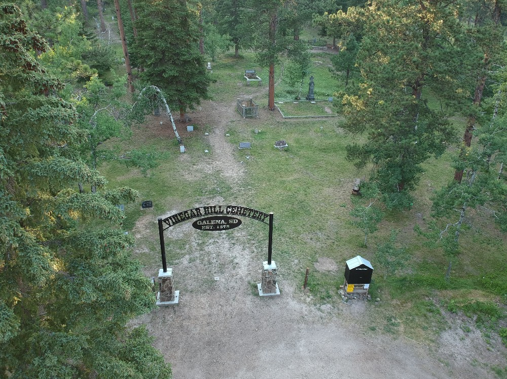 Galena South Dakota cemetery from the air